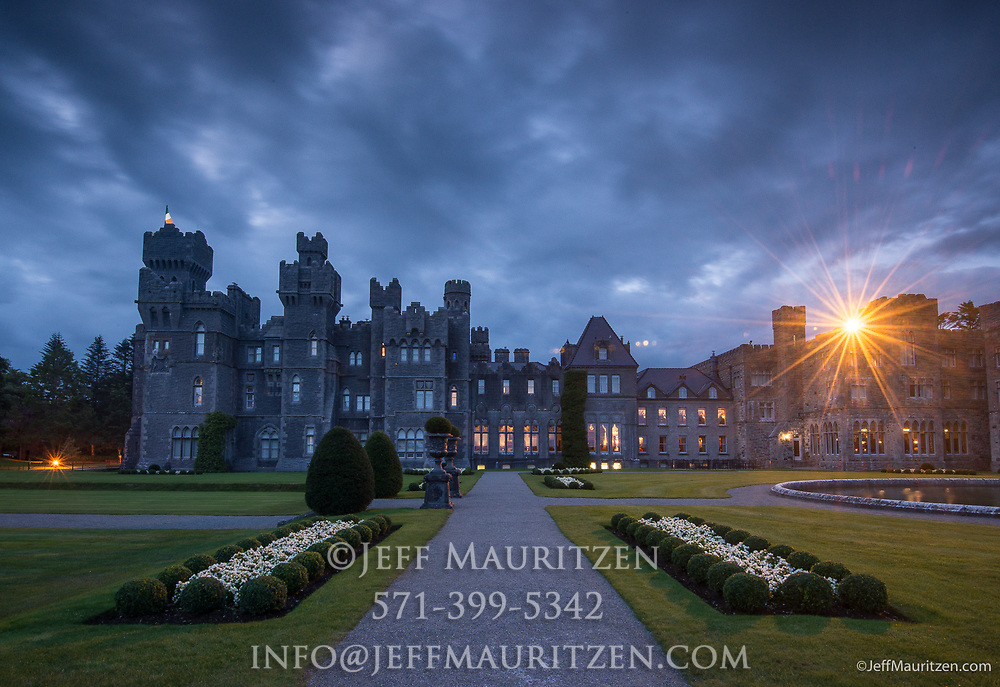 Nighttime at Ashford Castle, a 13th century castle turned into a 5 star luxury hotel.