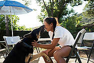 CARSON, CA | August 3, 2017<br /> Claire Liu, 17, loves being on the road and traveling for tennis, but one of the perks of being home is kisses from her 2-year-old German Shepherd, Buddy. Liu, who recently won the Wimbledon girls championship. Liu is the first American since Chanda Rubin in 1992 to win the female junior crown. (Melissa Lyttle for The New York Times)