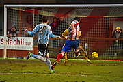 Dorking Wanderers Matt Briggs scores a late winner 2-1 during the Ryman League - Div One South match between Dorking Wanderers and Lewes FC at Westhumble Playing Fields, Dorking, United Kingdom on 28 January 2017. Photo by Jon Bromley.