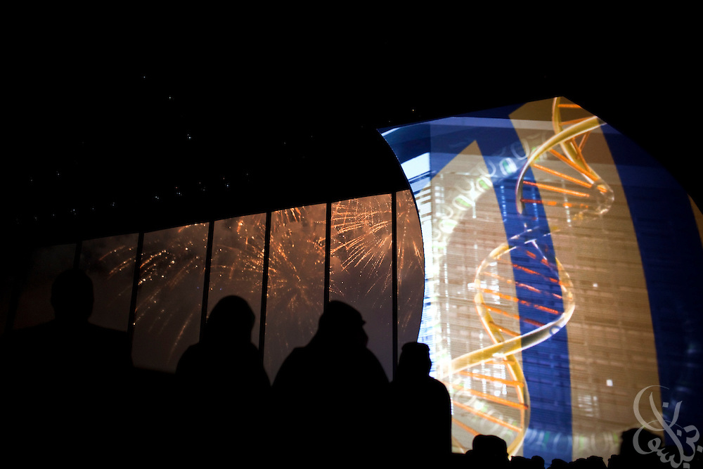 3,000 invited guests watch fireworks under the large ceremony hall tent for a multimedia extravaganza during the King Abdullah University of Science and Technology (KAUST) Inauguration Ceremony September 23, 2009 in Thuwal, Saudi Arabia (about 80 Kilometers north of Jeddah.) The University will act as a living laboratory by demonstrating that environmentally responsible methods of energy use, materials management, and water consumption are viable in the Middle East and across the globe. (Photo by Scott Nelson).