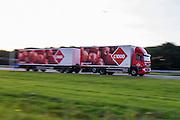 Een vrachtwagen met een extra lange trailer van C1000 rijdt over de A12 bij Utrecht.<br /> <br /> A truck with a long trailer is riding at the A12 near Utrecht.