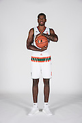September 28, 2016: Anthony Lawrence, Jr. #3 poses during  Miami Hurricanes Men's Basketball Photo Day in Coral Gables, Florida.