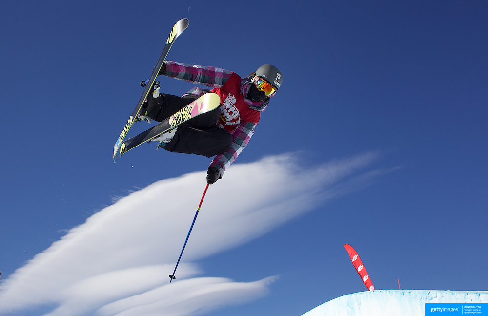 Rose Battersby, New Zealand, in action during her fifth place finish in the Women's Halfpipe Finals during The North Face Freeski Open at Snow Park, Wanaka, New Zealand, 3rd September 2011. Photo Tim Clayton..