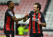 AFC Bournemouth's Brett Pitman celebrates his goal during the Sky Bet Championship match between Bournemouth and Blackpool at the Goldsands Stadium, Bournemouth, England on 14 March 2015. Photo by Mark Davies.