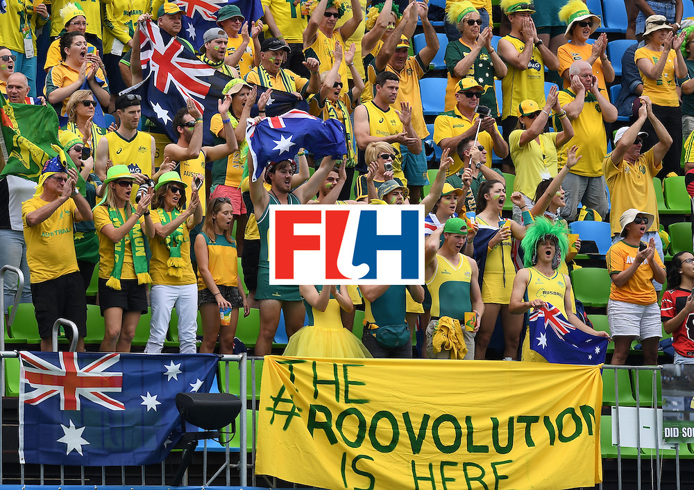 Australia fans cheer during the womens's field hockey Australia vs USA match of the Rio 2016 Olympics Games at the Olympic Hockey Centre in Rio de Janeiro on August, 8 2016. / AFP / MANAN VATSYAYANA        (Photo credit should read MANAN VATSYAYANA/AFP/Getty Images)