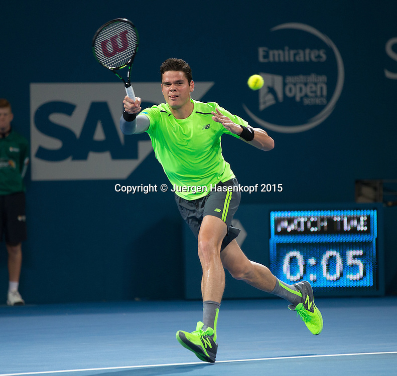 Milos Raonic (CAN)<br /> <br /> Tennis - Brisbane International  2015 - ATP -   - Brisbane - QLD - Australia  - 11 January 2015. <br /> &copy; Juergen Hasenkopf
