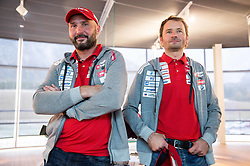Tomas Kos and Matej Oblak during official presentation of the outfits of the Slovenian Ski Teams before new season 2016/17, on October 18, 2016 in Planica, Slovenia. Photo by Vid Ponikvar / Sportida