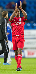MOLDE, NORWAY - Wednesday, September 7, 2011: Liverpool's Andre Wisdom and Raheem Sterling thank the Norwegian Liverpool fans after the 4-0 win against Molde after the second NextGen Series Group 2 match at Aker Stadion. (Photo by Vegard Grott/Propaganda).