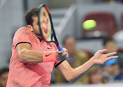 BEIJING, Oct. 9, 2016  Grigor Dimitrov of Bulgaria hits a return to Andy Murray of Britain during the men's singles final at the China Open tennis tournament in Beijing, capital of China, Oct. 9, 2016. Dimitrov lost the final 0-2. (Credit Image: © Li Wen/Xinhua via ZUMA Wire)