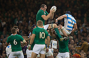 Cardiff, Great Britain, Devin TONER, collects the line out ball during the  Quarter Final   Ireland vs Argentina.  2015 Rugby World Cup,  Venue, Millennium Stadium, Cardiff. Wales   Sunday  18/10/2015.   [Mandatory Credit; Peter Spurrier/Intersport-images]