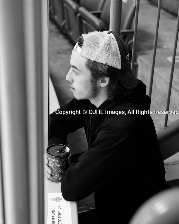 TRENTON, ON  - MAY 5,  2017: Canadian Junior Hockey League, Central Canadian Jr. &quot;A&quot; Championship. The Dudley Hewitt Cup. Game 7 between Georgetown Raiders and the Powassan Voodoos. Jack Jacome #23 of the Georgetown Raiders before then game.  <br /> (Photo by Andy Corneau / OJHL Images)