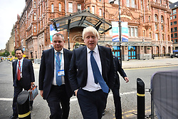 © Licensed to London News Pictures. 02/10/2017. Manchester, UK. BORIS JOHNSON seen at the second day of the Conservative Party Conference. The four day event is expected to focus heavily on Brexit, with the British prime minister hoping to dampen rumours of a leadership challenge. Photo credit: Ben Cawthra/LNP