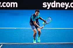 January 7, 2019 - Sydney, NSW, U.S. - SYDNEY, AUSTRALIA - JANUARY 07: Milos Raonic (CAN) hits a volley at The Sydney FAST4 Tennis Showdown on January 07, 2018, at Qudos Bank Arena in Homebush, Australia. (Photo by Speed Media/Icon Sportswire) (Credit Image: © Steven Markham/Icon SMI via ZUMA Press)