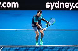 January 7, 2019 - Sydney, NSW, U.S. - SYDNEY, AUSTRALIA - JANUARY 07: Milos Raonic (CAN) hits a volley at The Sydney FAST4 Tennis Showdown on January 07, 2018, at Qudos Bank Arena in Homebush, Australia. (Photo by Speed Media/Icon Sportswire) (Credit Image: © Steven Markham/Icon SMI via ZUMA Press)