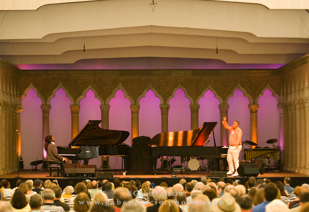 Elio Villafranca and Chuchito Valdes perfoming in the Cuban Piano Summit of the Jazz Festival II  in the Venetian Theater at Caramoor  in Katonah, New York on Friday, Aug 1, 2008.
