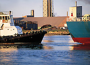 Tugboat and ship, Newcastle Harbour, NSW, Australia