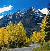 Autumn Scenic of Aspen Trees and the Maroon Bells near Aspen, Colorado.