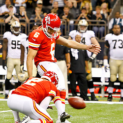 September 23, 2012; New Orleans, LA, USA; Kansas City Chiefs place kicker Ryan Succop (6) kicks a field goal to send the game into overtime against the New Orleans Saints in a game at the Mercedes-Benz Superdome. The Chiefs defeated the Saints 27-24 in overtime. Mandatory Credit: Derick E. Hingle-US PRESSWIRE