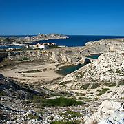Port du Frioul. <br /> Archipel du Frioul. Pommegues. Ratonneau, If. Parc national des calanques. Marseille