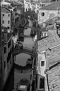 Italy. Venice elevated view. SAN BARNABA canal and the rooftops.  Venice - Italy  view from CA REZONICO  palace / le canal SAN BARNABA et LES TOITS  Venise - Italie vue depuis la CA REZONICO palais