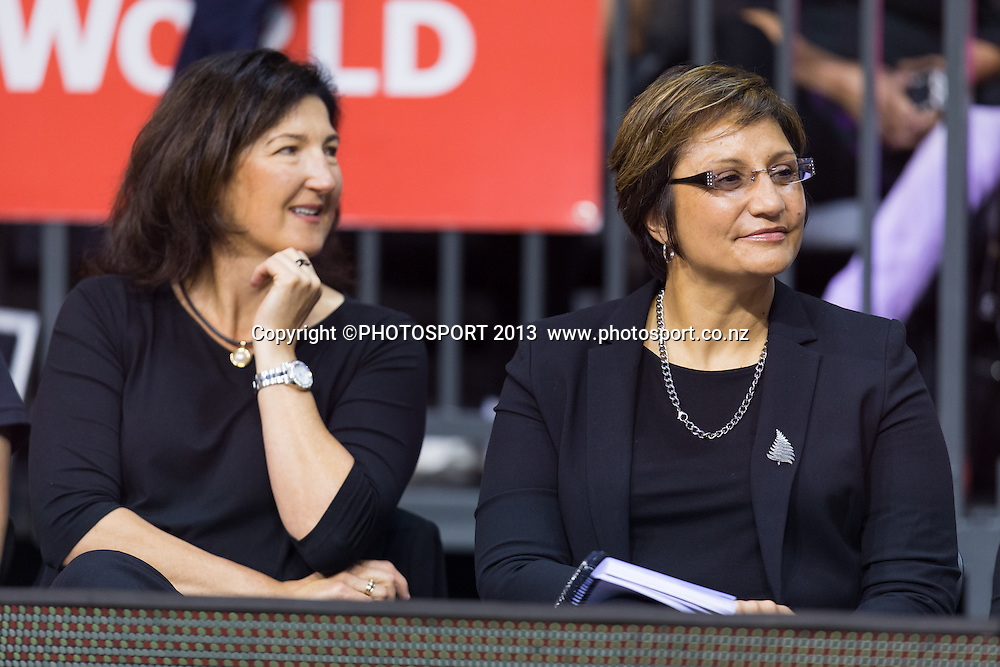 Silver Ferns assistant coach Vicki Wilson coach Waimarama Taumaunu listen to presentations after the New World Netball Series - Silver Ferns v Malawi, won by NZ 72-39 at Claudelands Arena, Hamilton, New Zealand, Thursday 31 October 2013. Photo: Stephen Barker/Photosport.co.nz