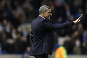 Brighton Manager, Chris Hughton signals for calm during the EFL Sky Bet Championship match between Brighton and Hove Albion and Reading at the American Express Community Stadium, Brighton and Hove, England on 25 February 2017.