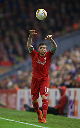 LIVERPOOL, ENGLAND - Thursday, November 26, 2015: Liverpool's Alberto Moreno takes a throw-in against FC Girondins de Bordeaux during the UEFA Europa League Group Stage Group B match at Anfield. (Pic by David Rawcliffe/Propaganda)