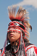 Young Blackfoot boy in traditional regalia, Siksika Nation Pow-wow, Gleichen, Alberta, Canada