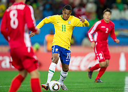 Robinho of Brazil during the 2010 FIFA World Cup South Africa Group G match between Brazil and North Korea at Ellis Park Stadium on June 15, 2010 in Johannesburg, South Africa. Brazil defeated Korea 2-1. (Photo by Vid Ponikvar / Sportida)