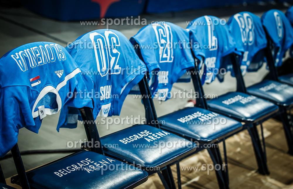 Jerseys of Team Slovenia during basketball match between Women National teams of Belgium and Slovenia in the Qualification for the Quarter-Finals of Women's Eurobasket 2019, on July 2, 2019 in Belgrade Arena, Belgrade, Serbia. Photo by Vid Ponikvar / Sportida