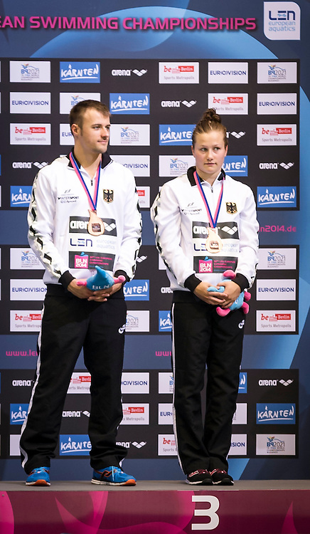 Podium<br /> GER Germany<br /> PUNZEL Tina<br /> KLEIN Sascha<br /> Bronze Medal<br /> Diving Team Event Final<br /> 32nd LEN European Championships <br /> Berlin, Germany 2014  Aug.13 th - Aug. 24 th<br /> Day06 - Aug. 18<br /> Photo P. Mesiano/Deepbluemedia/Inside
