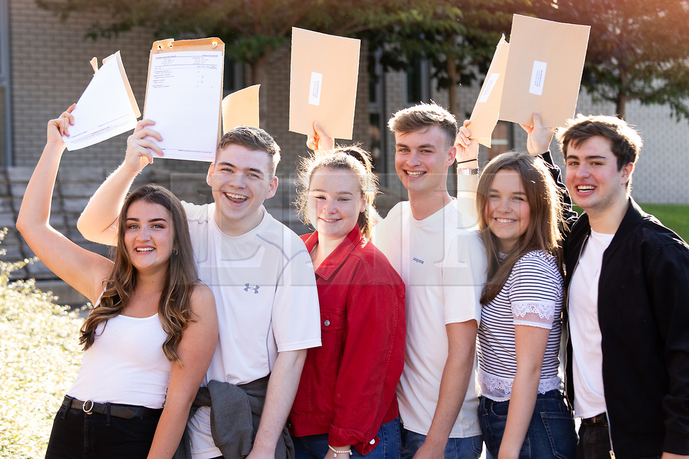 © Licensed to London News Pictures. 15/08/2019. Solihull, West Midlands UK. Solihull School A level results. From left, Marisa, Matt, Ella, Thomas, Georgina, Max. Photo credit: Dave Warren/LNP