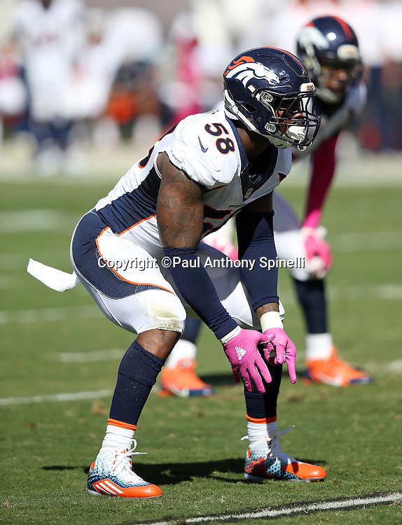 Denver Broncos outside linebacker Von Miller (58) makes a move during the 2015 NFL week 5 regular season football game against the Oakland Raiders on Sunday, Oct. 11, 2015 in Oakland, Calif. The Broncos won the game 16-10. (©Paul Anthony Spinelli)