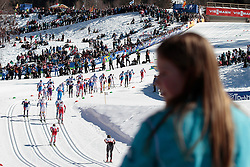 03.03.2013, Langlaufstadion, Lago di Tesero, ITA, FIS Weltmeisterschaften Ski Nordisch, Langlauf Herren, 50 km, im Bild a view of the entrance of the cross country stadium during the Men 50 km Cross Country of the FIS Nordic Ski World Championships 2013 at the Cross Country Stadium, Lago di Tesero, Italy on 2013/03/03. EXPA Pictures ©  2013, PhotoCredit: EXPA/ Federico Modica