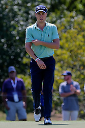 September 21, 2018 - Atlanta, Georgia, United States - Justin Thomas reacts after chipping in a birdie putt on the 4th green during the second round of the 2018 TOUR Championship. (Credit Image: © Debby Wong/ZUMA Wire)