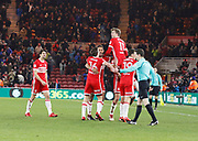 Goal celebration  by Patrick Bamford of Middlesbrough during the EFL Sky Bet Championship match between Middlesbrough and Leeds United at the Riverside Stadium, Middlesbrough, England on 2 March 2018. Picture by Paul Thompson.