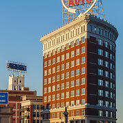 Vertical photo of Western Auto Lofts Building in downtown Kansas City, Missouri.