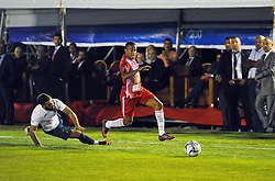 October 6, 2017 - Nabeul, Tunisia - Ouday Belhaj(9)of Tunisia and Bruno Tavares(2) of Portugal during the opening match of the World Cup mini-footbal....Ceremonie the kickoff of the World Cup mini-football, held from 6 to 15 October in Nabeul (60 km south of Tunis) Tunisia this Friday, October 6, 2017 with the participation of 24 teams from different countries world. (Credit Image: © Chokri Mahjoub via ZUMA Wire)