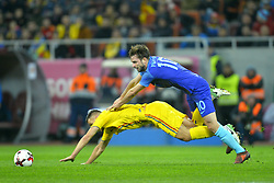 November 14, 2017 - Bucharest, Romania - Romania's Ovidiu Hoban vies Netherlands's Propper during International Friendly match between Romania and Netherlands at National Arena Stadium in Bucharest, Romania, on 14 november 2017. (Credit Image: © Alex Nicodim/NurPhoto via ZUMA Press)