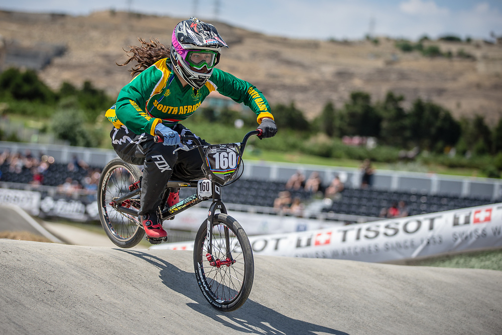 Women Junior #160 (GRASSIE Georgina) RSA at the 2018 UCI BMX World Championships in Baku, Azerbaijan.