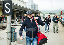 Rok Ticar during departure to Budapest of Slovenian Ice Hockey National Team, on April 17, 2017 in Railway station, Ljubljana, Slovenia. Photo by Vid Ponikvar / Sportida