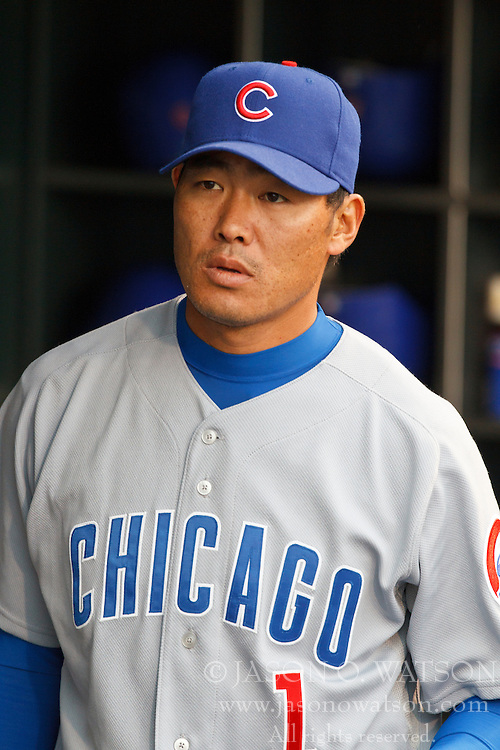 August 10, 2010; San Francisco, CA, USA;  Chicago Cubs right fielder Kosuke Fukudome (1) in the dugout before the game against the San Francisco Giants at AT&T Park.  Chicago defeated San Francisco 8-6.