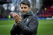 Lincoln City Manager Danny Cowley claps the fans after the EFL Sky Bet League 2 match between Lincoln City and Mansfield Town at Sincil Bank, Lincoln, United Kingdom on 24 November 2018.