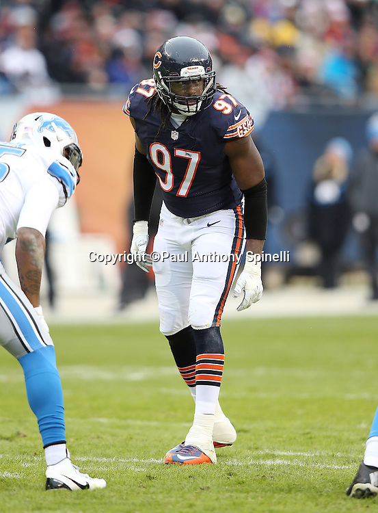 Chicago Bears outside linebacker Willie Young (97) gets set during the NFL week 17 regular season football game against the Detroit Lions on Sunday, Jan. 3, 2016 in Chicago. The Lions won the game 24-20. (©Paul Anthony Spinelli)