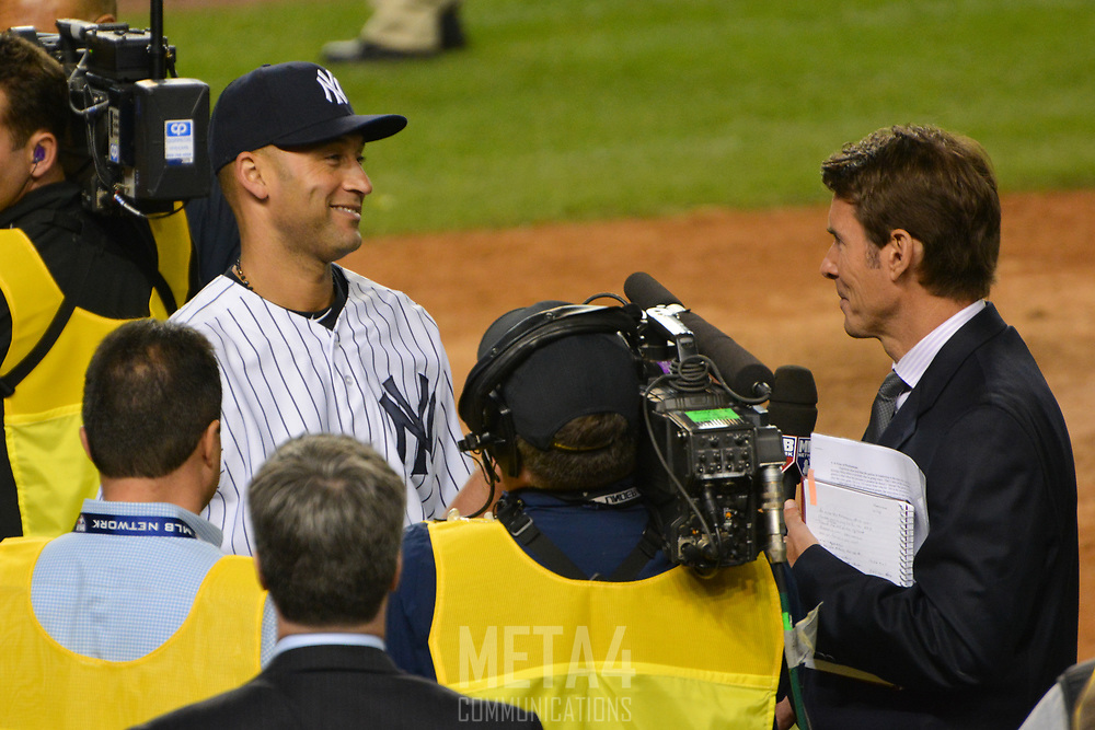 Derek Jeter smiles during an interview on ESPN following his final game at Yankee Stadium.