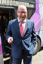© Licensed to London News Pictures. 20/05/2017. LONDON, UK.  PAUL NUTTALL, UKIP leader arrives to campaign in Elm Park with UKIP candidate for Dagenham and Rainham, Peter Harris. All political parties continue to campaign across the UK ahead of the general election taking place on 8th June. Photo credit: Vickie Flores/LNP
