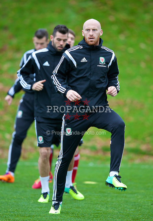 CARDIFF, WALES - Wednesday, November 13, 2013: Wales' James Collins during a training session at the Vale of Glamorgan ahead of the international friendly match against Finland. (Pic by David Rawcliffe/Propaganda)