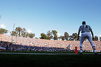 2 December 2006: Wide angle remote view of the field judge official referee and goal line during the Pac-10 college football upset UCLA beat the Trojans 13-9 during the final home game of the season for the UCLA Bruins vs the University of Southern California USC  Trojans at the Rose Bowl in Pasadena, CA..