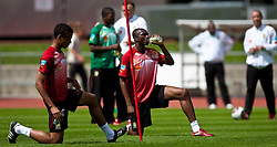 21.05.2010, Dolomitenstadion, Lienz, AUT, WM Vorbereitung, Kamerun Training im Bild Joel Matip, Mittelfeld, Nationalteam Kamerun (Schalke 04), Stephane Mbia, Abwehr, Nationalteam Kamerun (Olympique Marseille), EXPA Pictures © 2010, PhotoCredit: EXPA/ J. Feichter / SPORTIDA PHOTO AGENCY