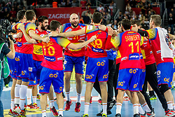 Spanish players celebrate during handball match between National teams of Spain and Sweden in Final match of Men's EHF EURO 2018, on January 28, 2018 in Arena Zagreb, Zagreb, Croatia . Photo by Ziga Zupan / Sportida